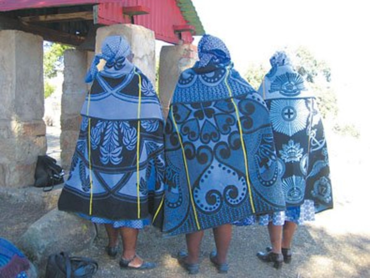 Basotho Women Showing off their Blankets