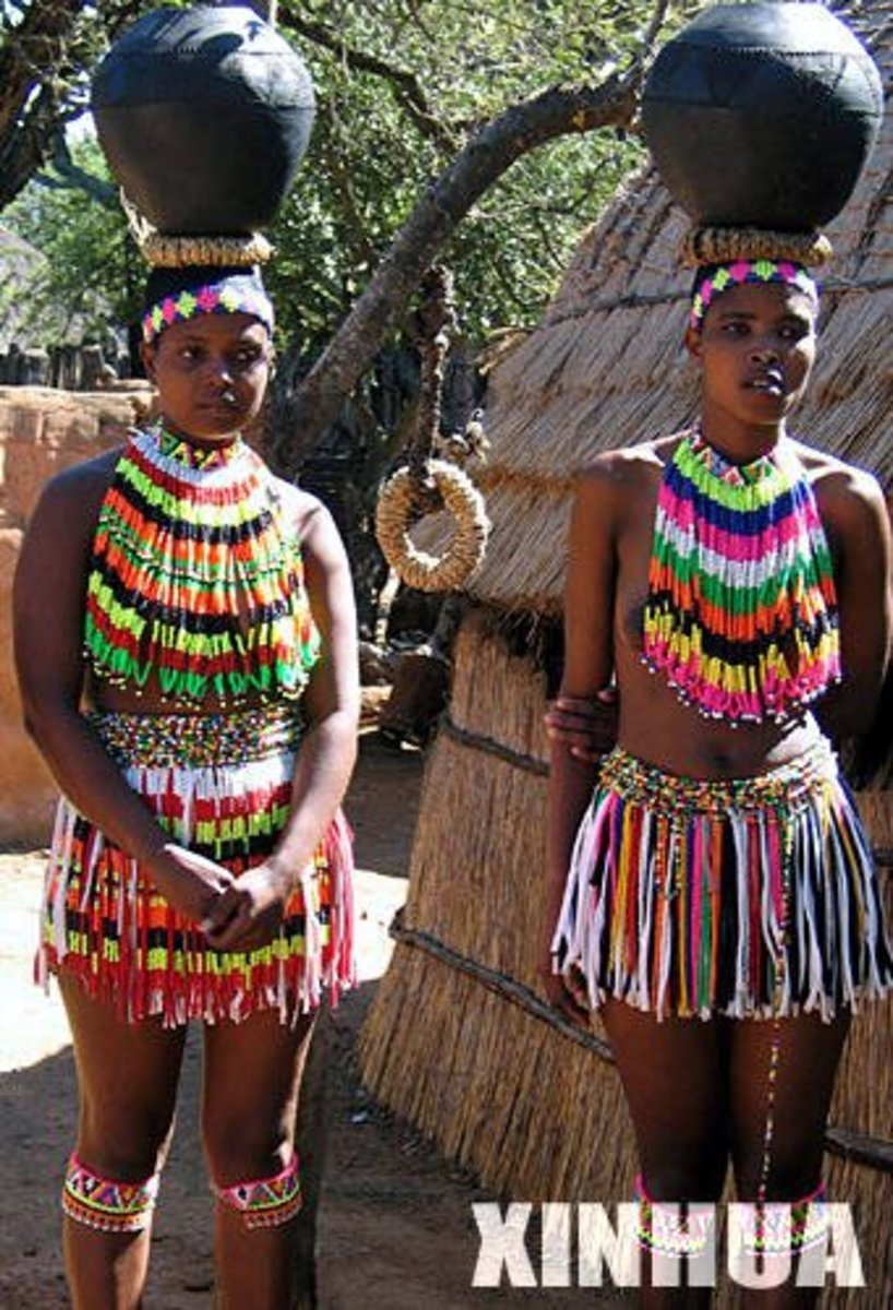 When they are engaged, they cover their breasts with decorative beaded-clothing