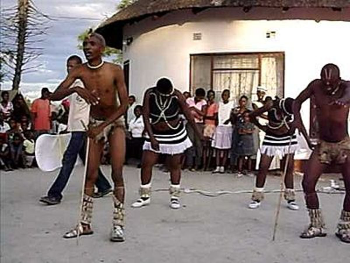 Tswana Girls and Boys going through their traditional dance and song at a celebration
