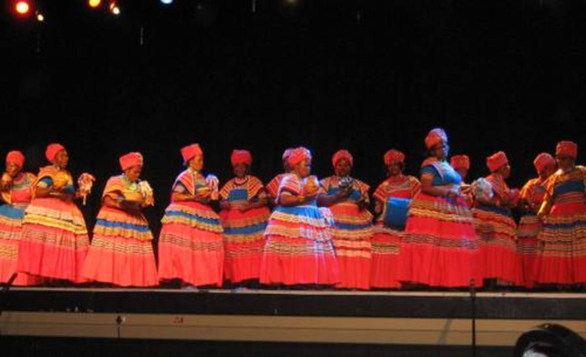 """The Basotho women engaged in their """"Mokgibo"""" dance, although this time singing standing"""
