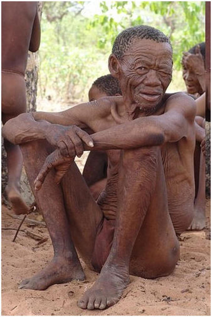 The San people resting under a shade and belong to the Nguni Stock