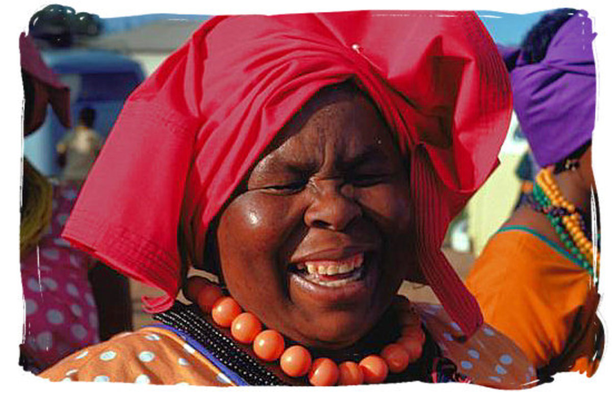 A Mopedi Woman with her customary stylized head-wrap