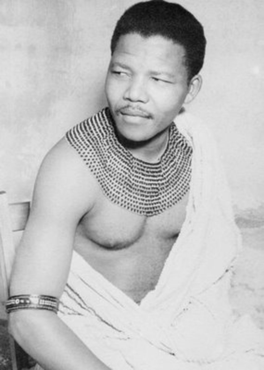 Mandela, in his younger days wearing the Xhosa traditional garb