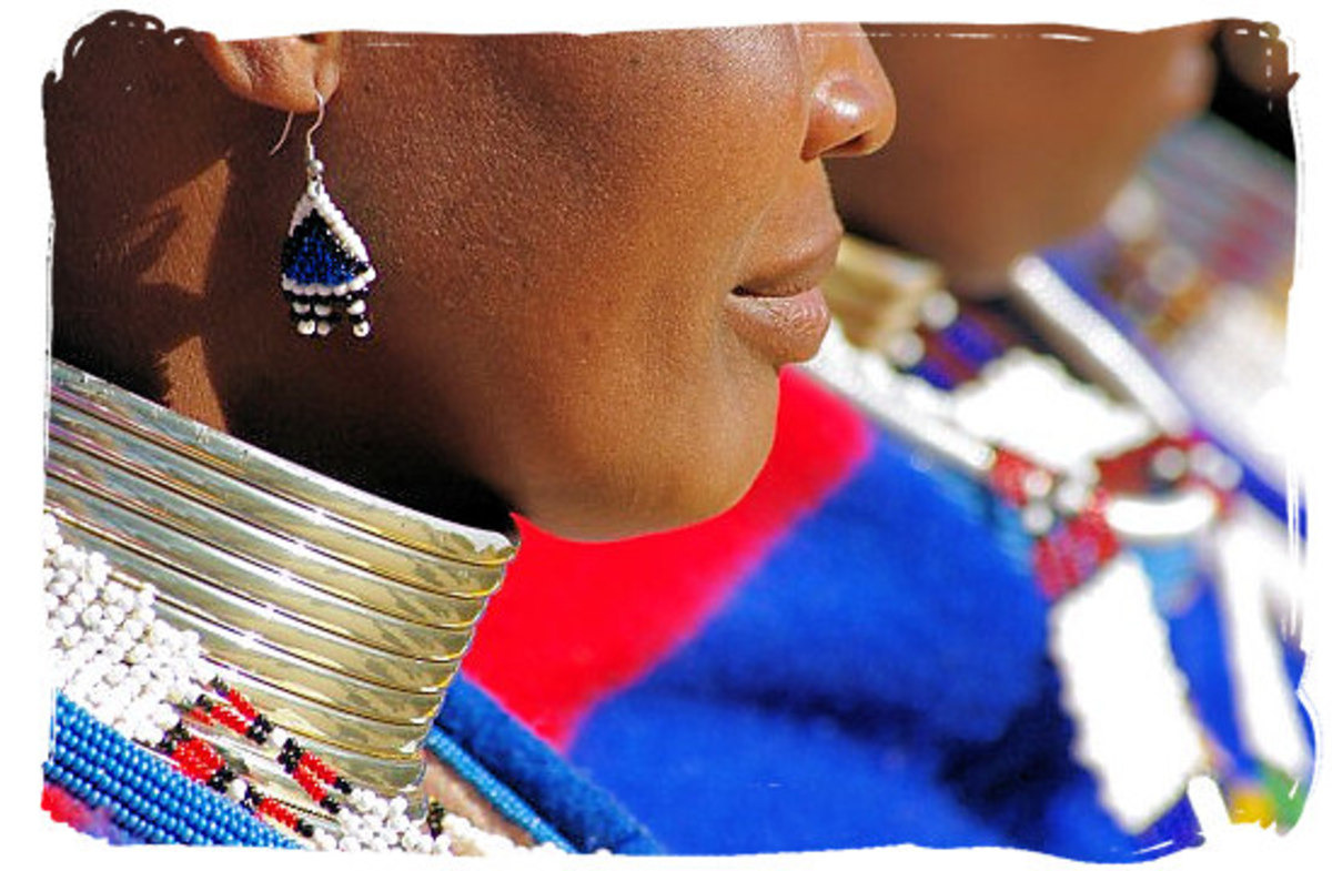Ndebele Woman wearing the thick brass rings around her neck