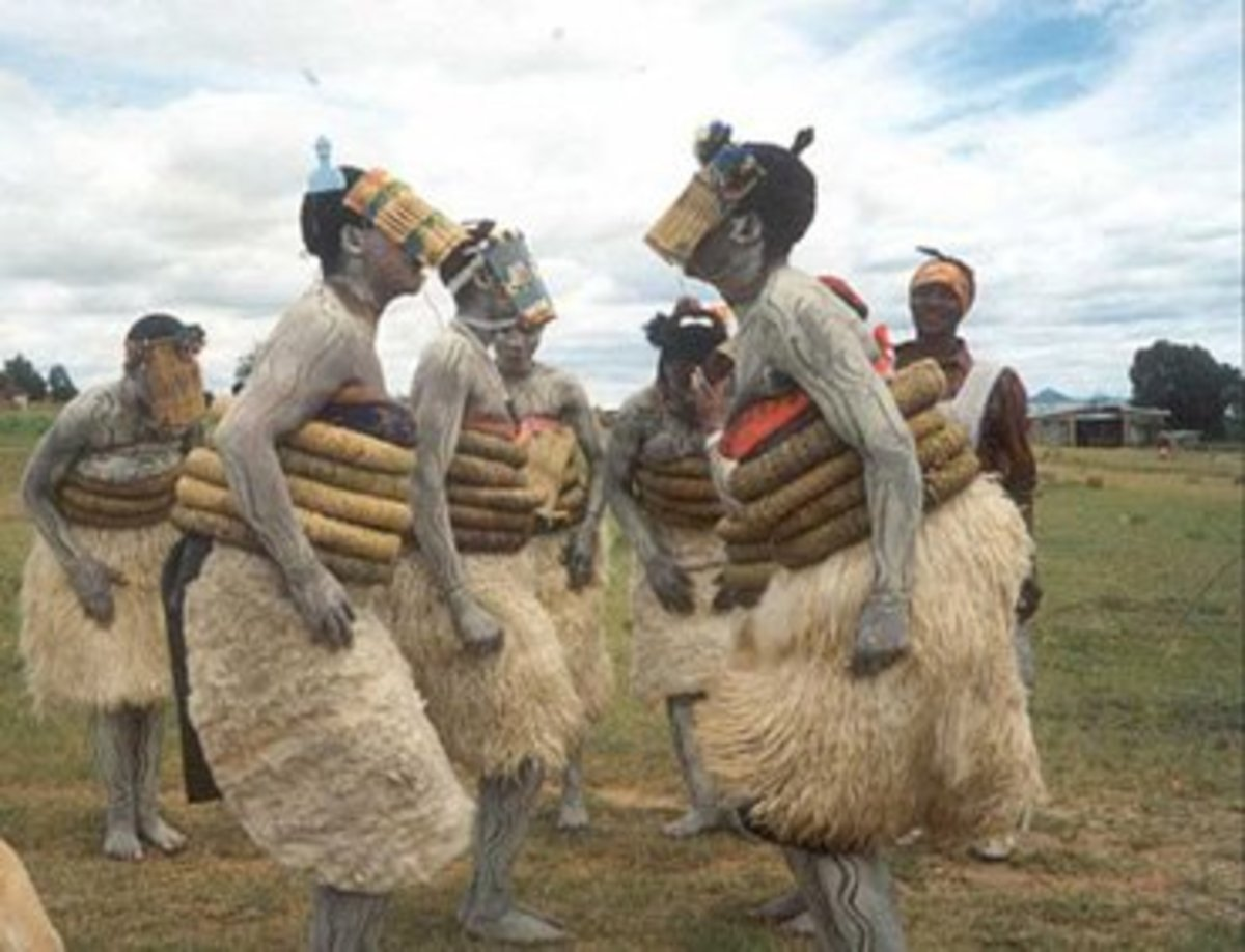 Basotho young girls in an Initiation school doing the traditional Dance