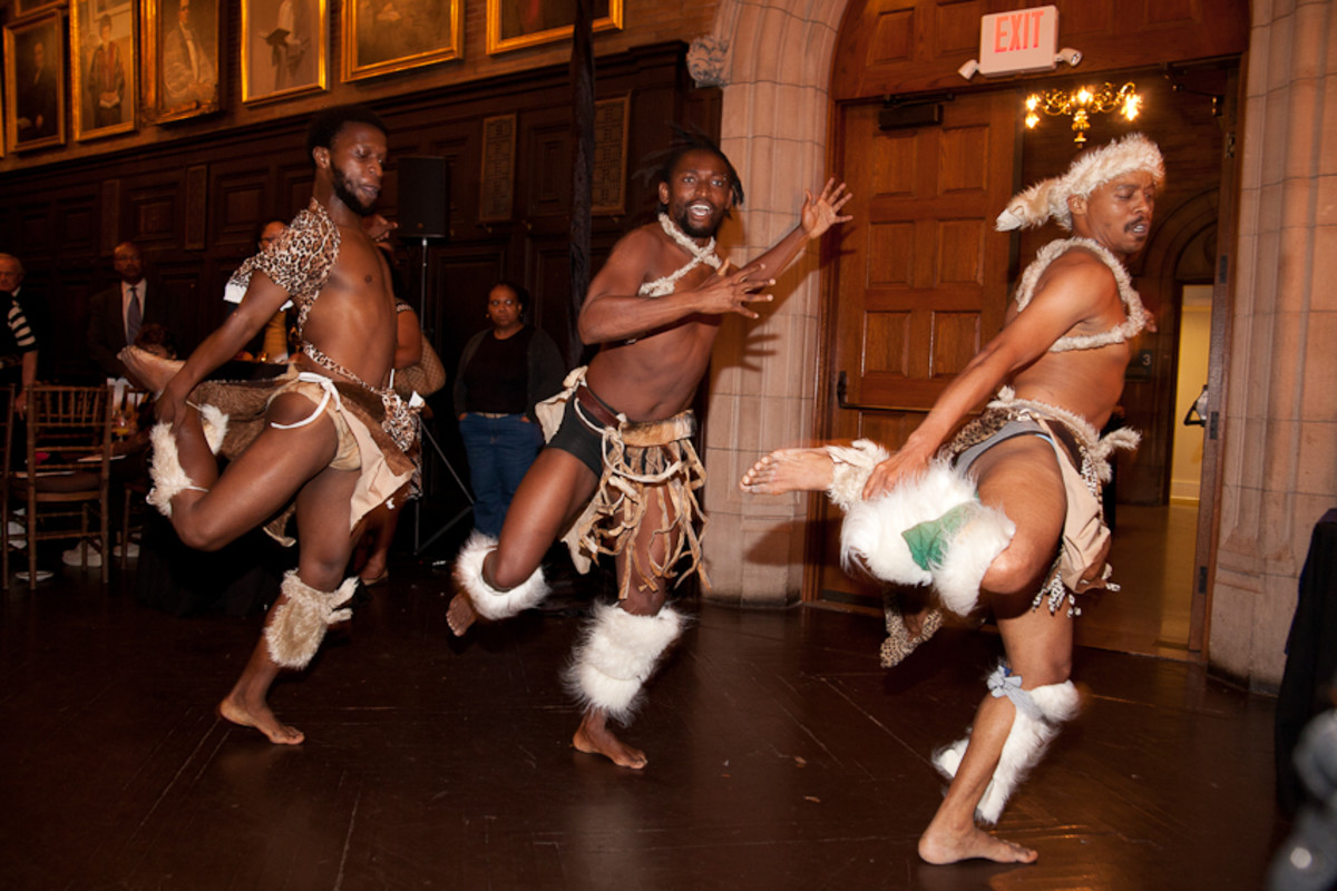 The Tswana Male dancers showing off their traditional dance moves