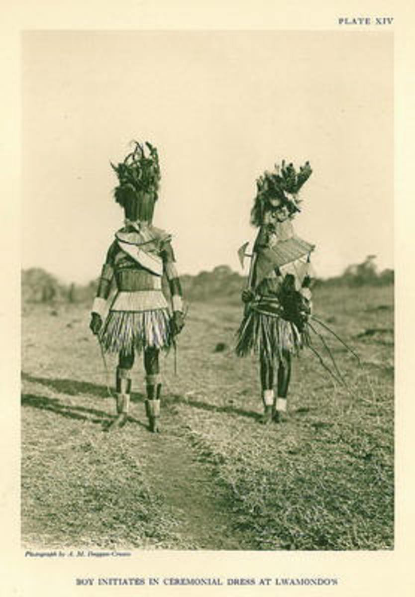 This is how the initiates for circumcision looks like. The dress abpove and the one wonr by the two men disguises them, and one here is crrying a typical old-fashined Venda battle axe