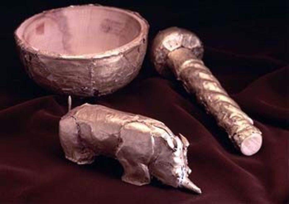 These are some of the Gold artifacts uncovered in the area of Limpopo know as Mapungubwe