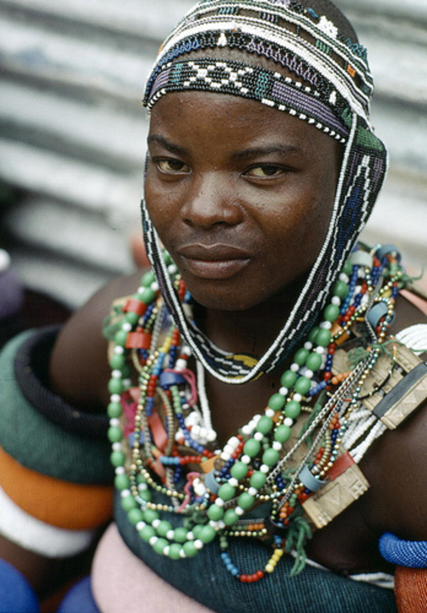 A Young man from the Ndebele nation in South Africa on his initiation day