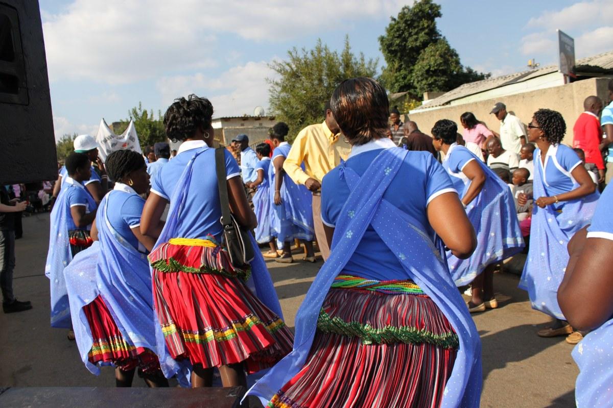 "Women wearing the Shangaan 'Motjeka"" traditional skirts"