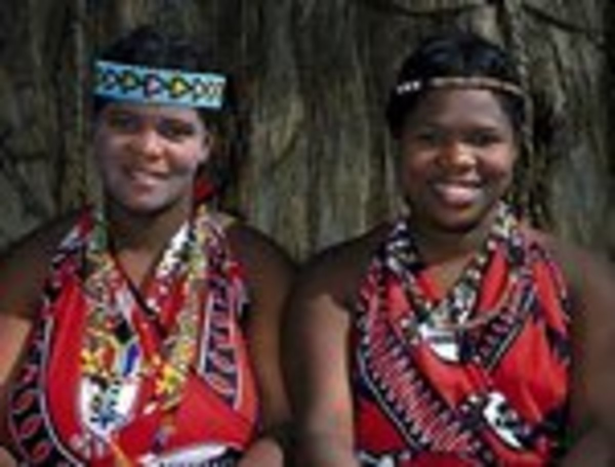 Swazi Ladies adorning their traditional attire and in many colors and beads