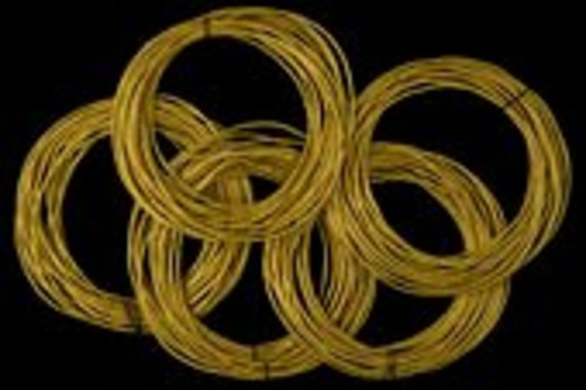 Gold canular  coiled anklets fashioned in the 12th or 13th century from flat strips which were wound around a bundle of organic fibers. Over 100 anklets were removed from fold grave  in Mapungubwe