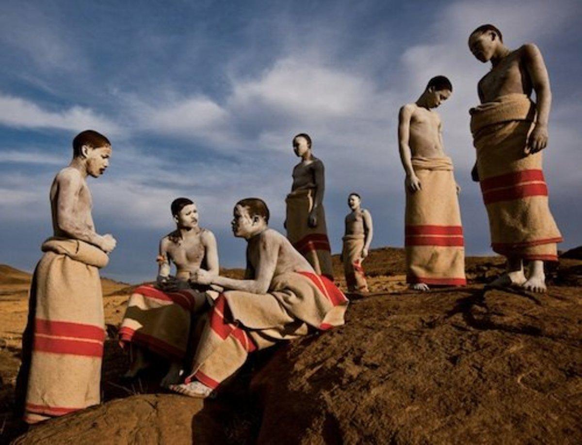 Xhosa initiates basking in the winter sun