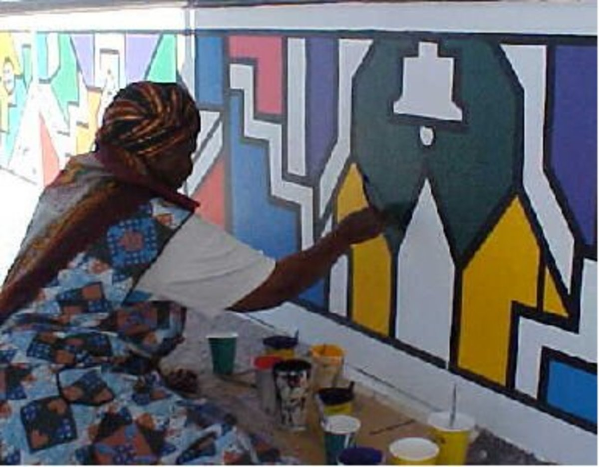 Ndebele Woman engaged in producing her art