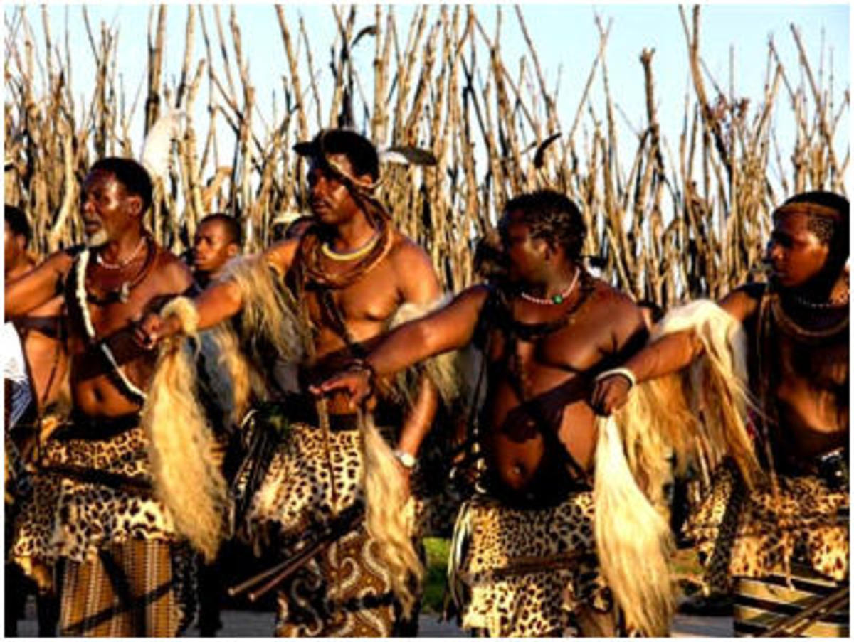 Swazi Men in traditional Garb same as the one worn by the Zulu Men
