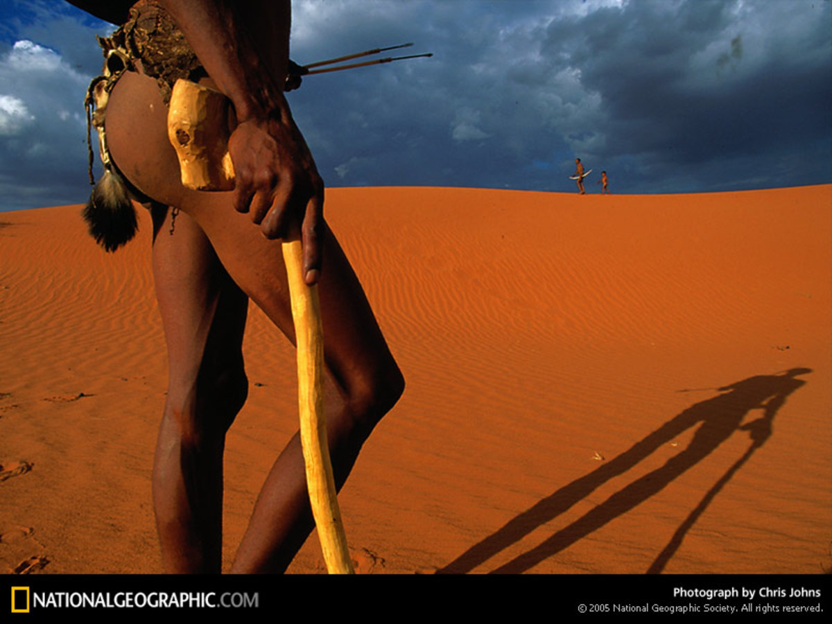 The San people on their Trek in the Kalahari(Meaning the Great Thirst)