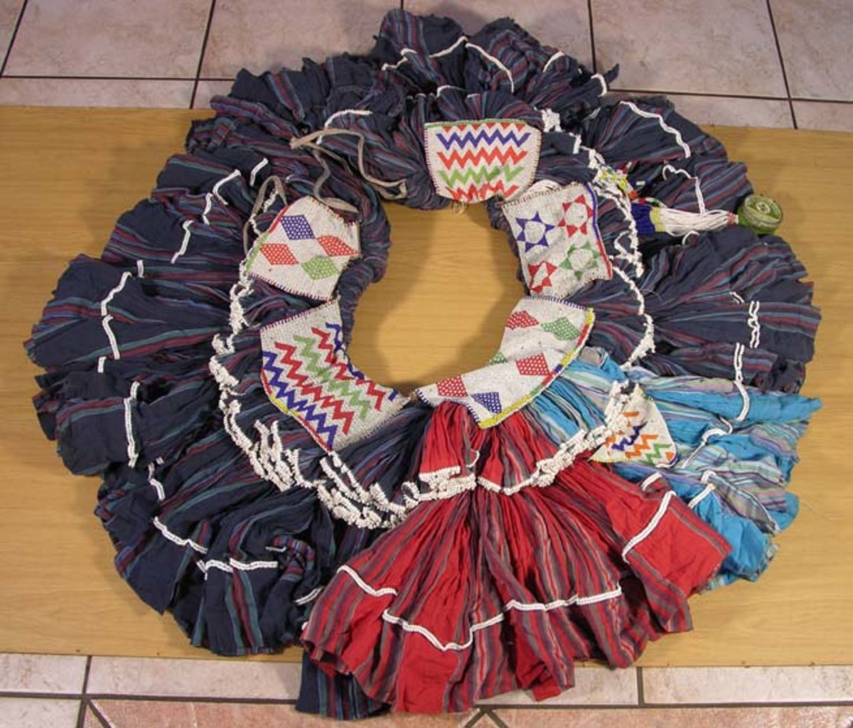 """Shangaan women's traditional dress and also used in dancing ceremonies and is know as """"Motjeka"""""""