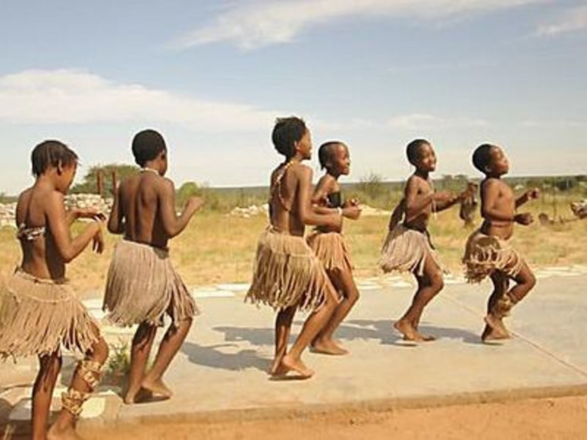 The Tswana Children doing a traditional song and dance