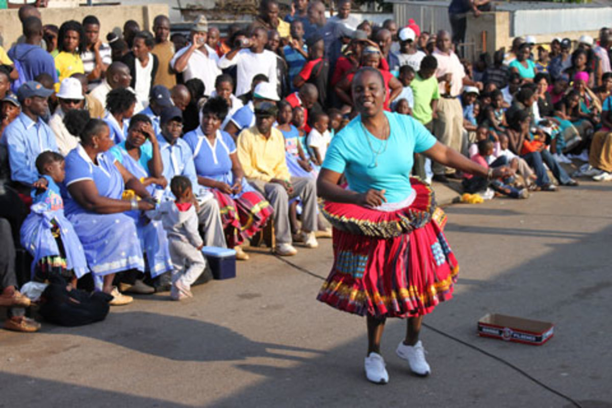 Shangaan Children doing their traditional dance wearing their customary/traditional