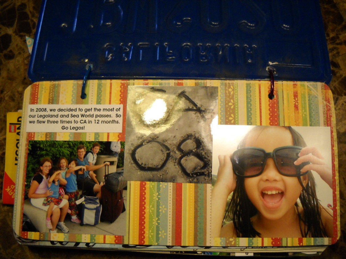 Licence Plate Scrapbook of Beach: we made title by digging in sand at beach and taking a picture!