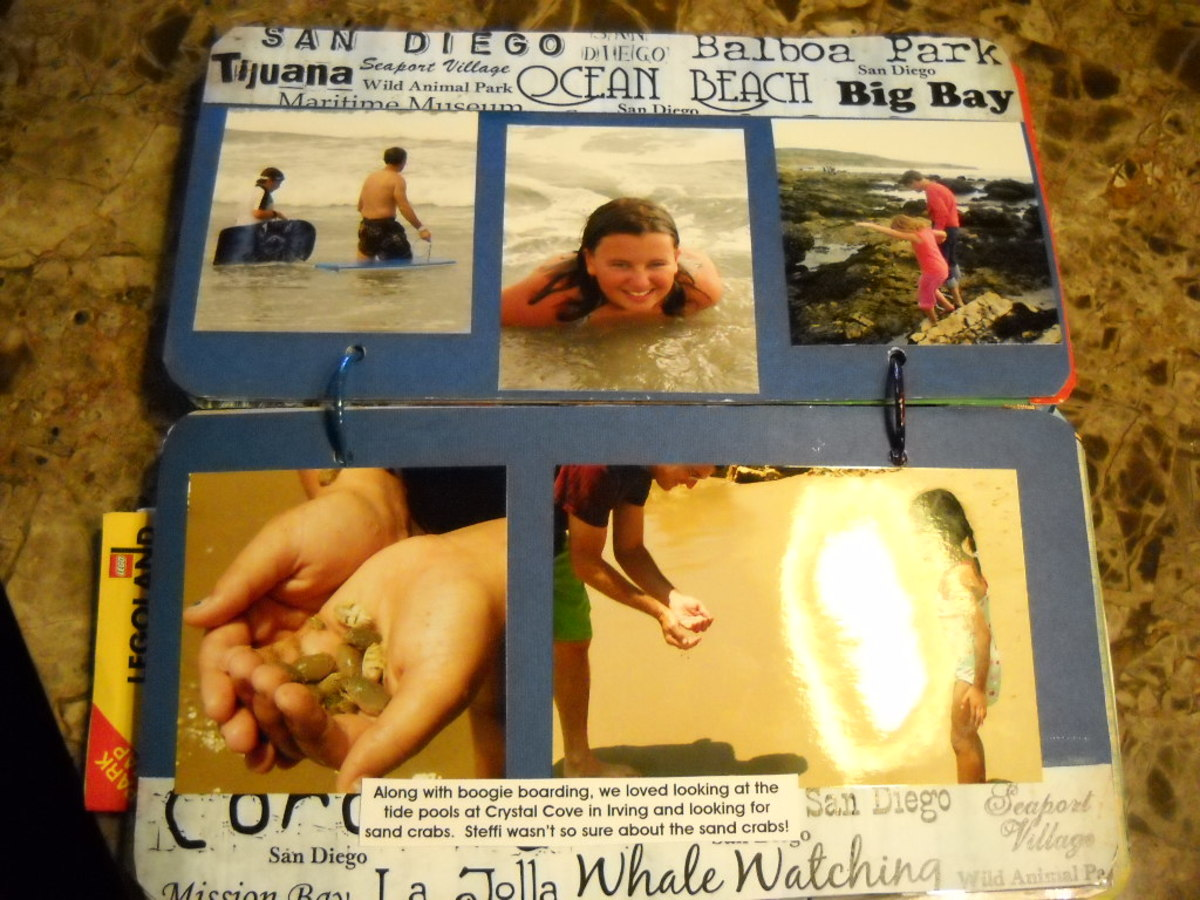 Inside License Plate Scrapbook: I used a word paper for embellishing top and bottom of this page, which is mostly pictures on cardstock.  So easy to do!