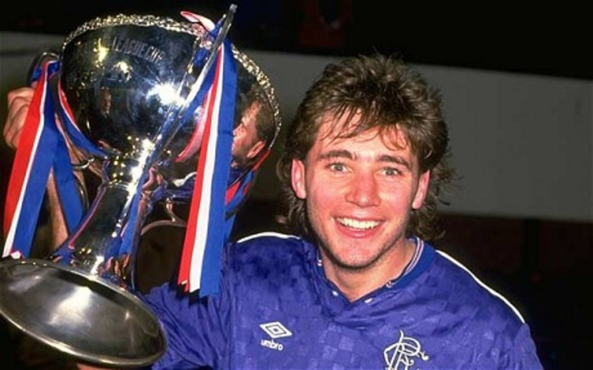 A young Ally in his playing days with Rangers Football Club