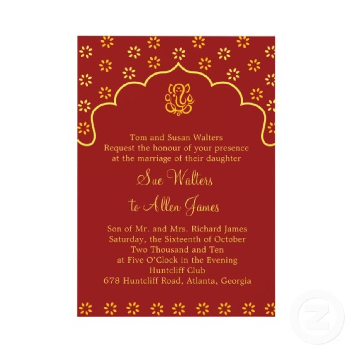 Red and Gold Indian Wedding Invitation