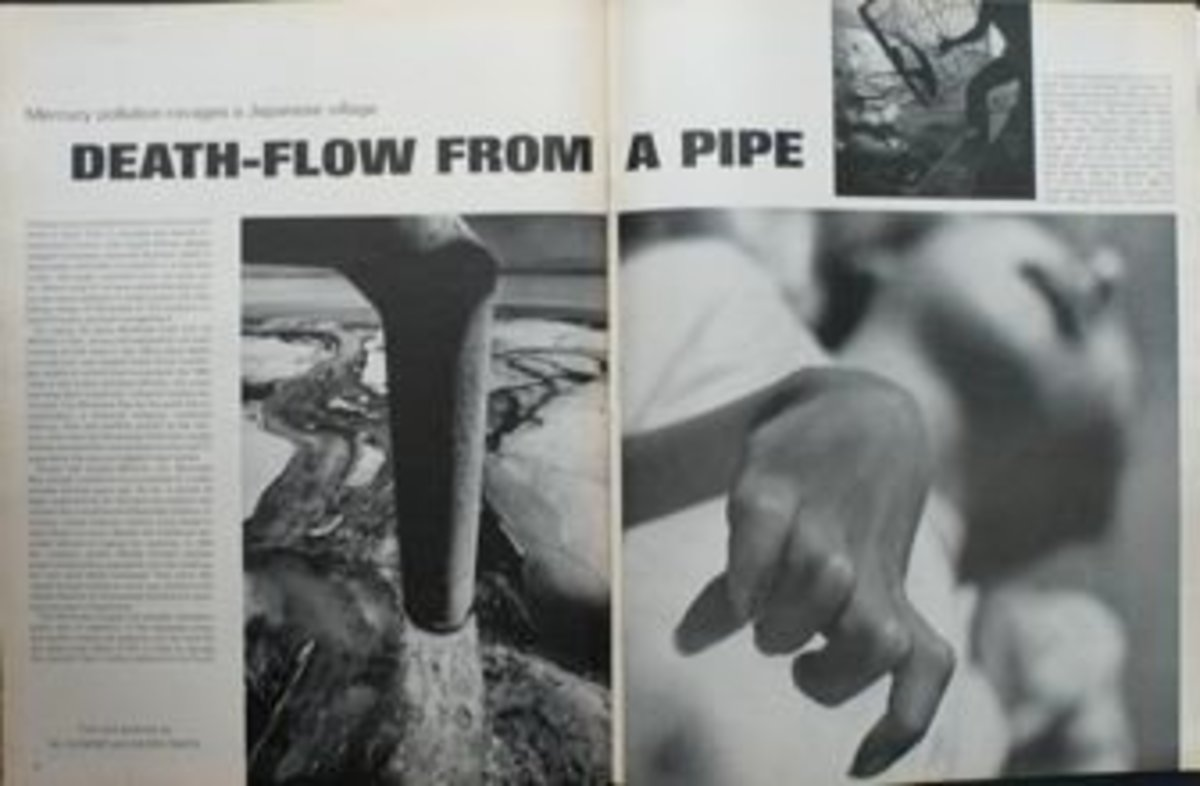 Polluted water and Hand of Tomoko Uemura in LIFE Magazine 2nd June 1972