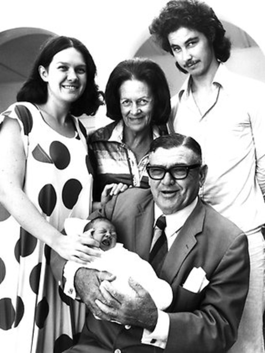 Gina Rinehart with her parents, Hope and Lang, first husband Greg Hayward and their son John.