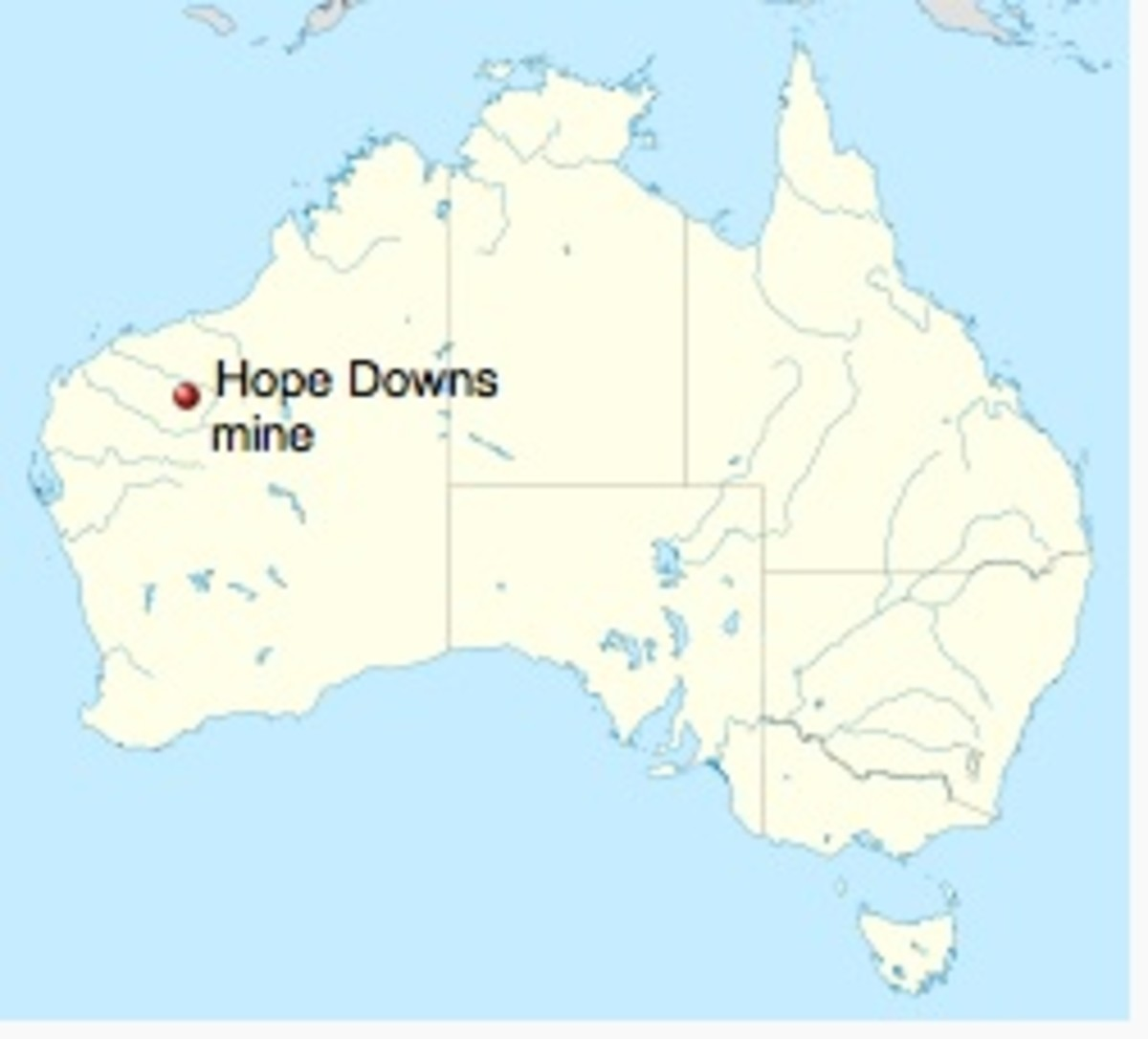 Location of Hope Downs iron ore mine in Western Australia. Named after Lang Hancock's second wife