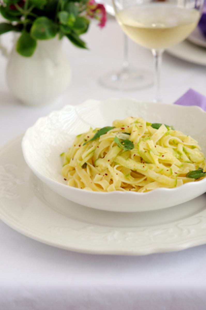 Zucchini & Lemon Pasta with Chilli.  ElenaKor Shutterstock.com