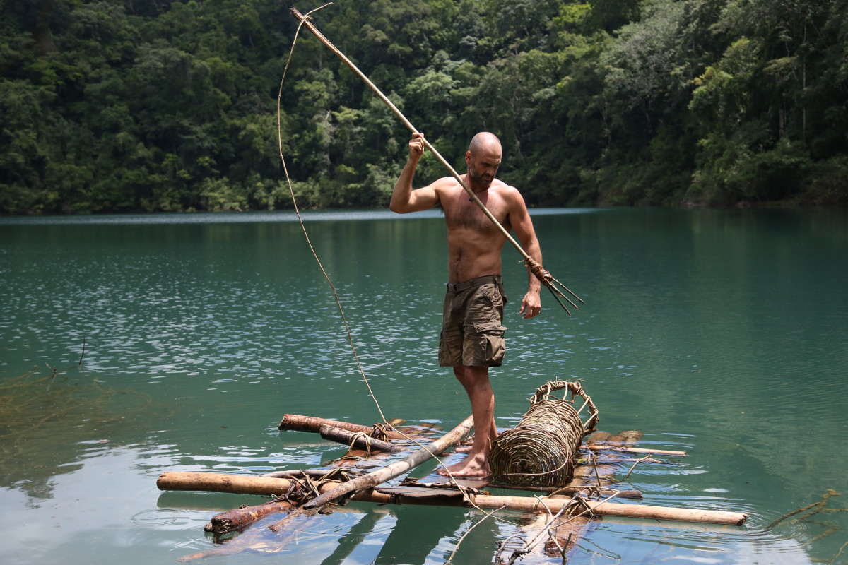 Stafford builds a raft and fishes in a Guatemalan cenote