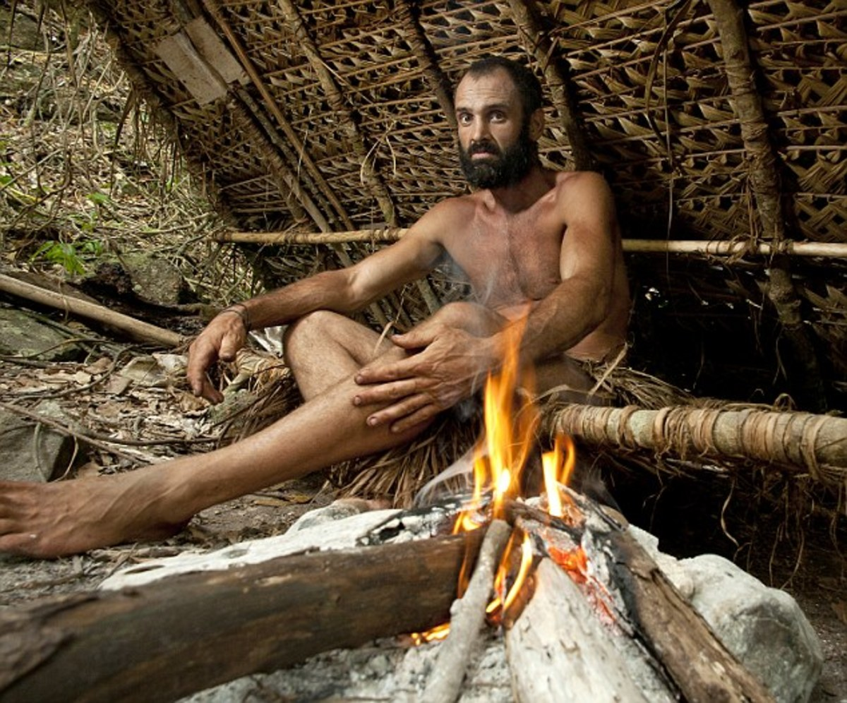 Stafford in a self-made shelter on a South Pacific island
