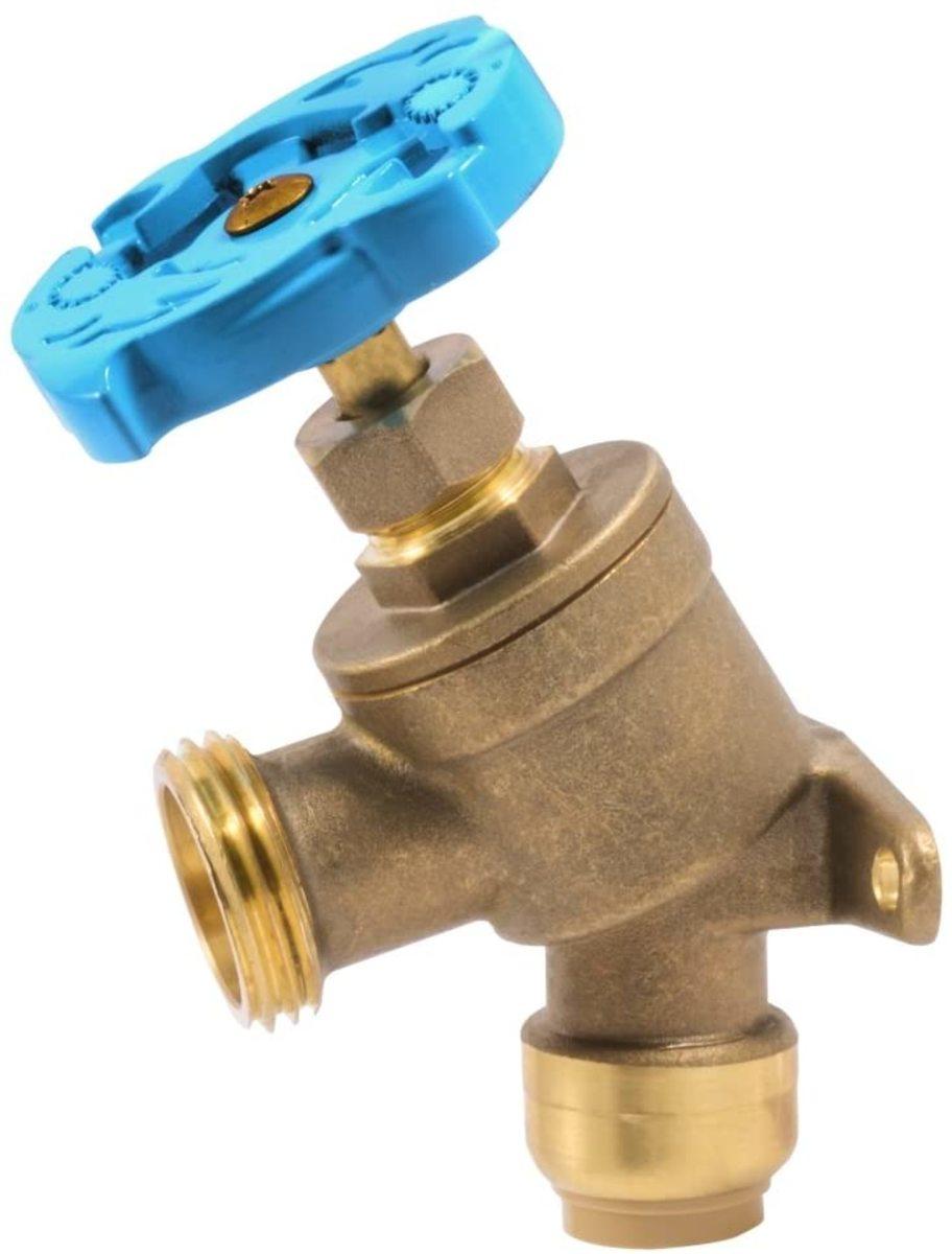 Hose bib or garden faucet.