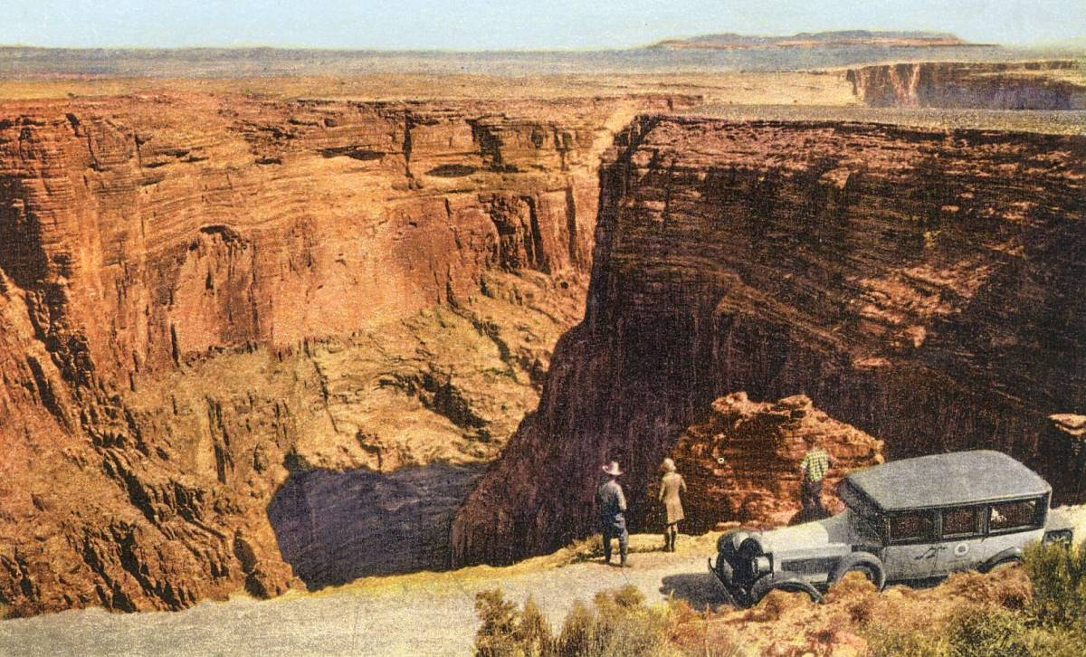 Fred Harvey Tour Car and Tourists at the Little Colorado River Gorge Grand Canyon Arizona