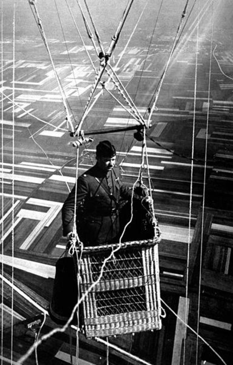 A World War I U.S. Army Major in the basket of an Observation Balloon