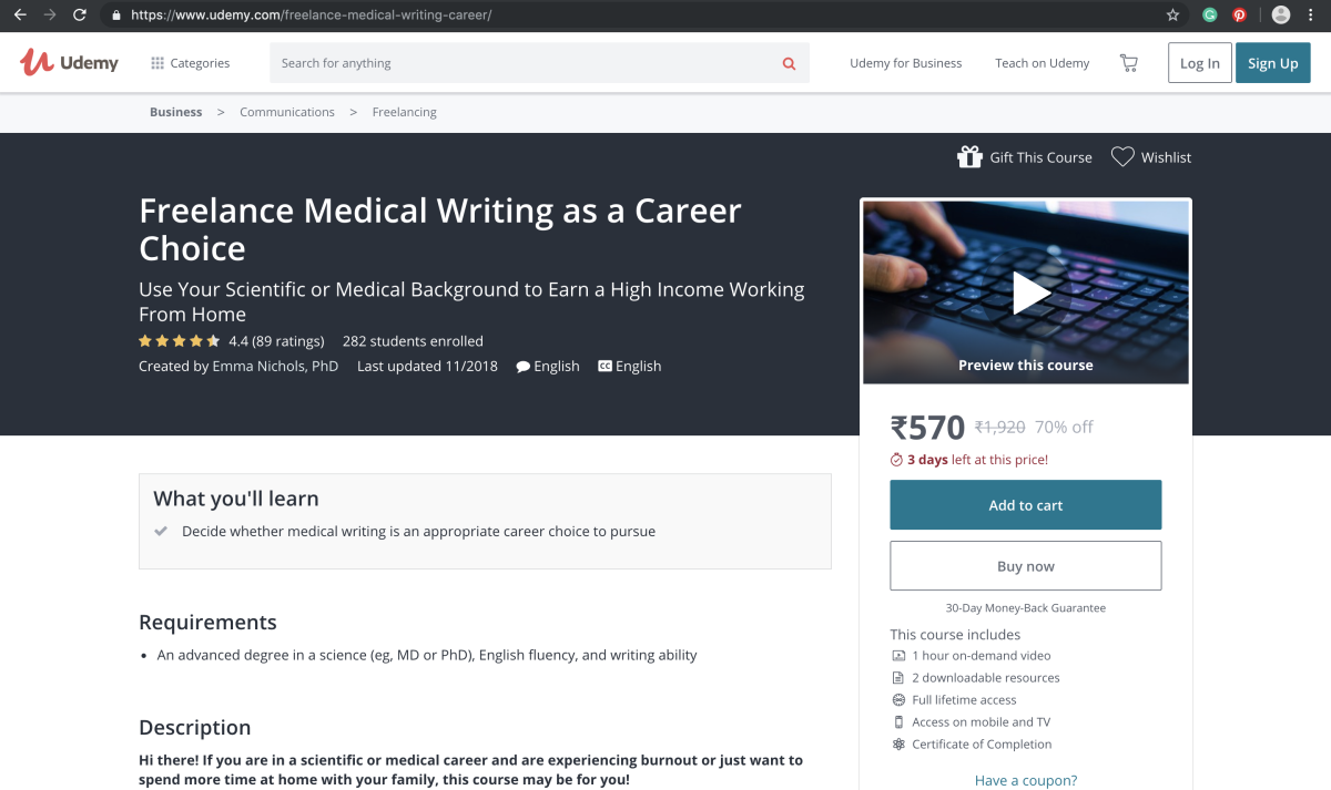 Freelance Medical Writing Course on Udemy