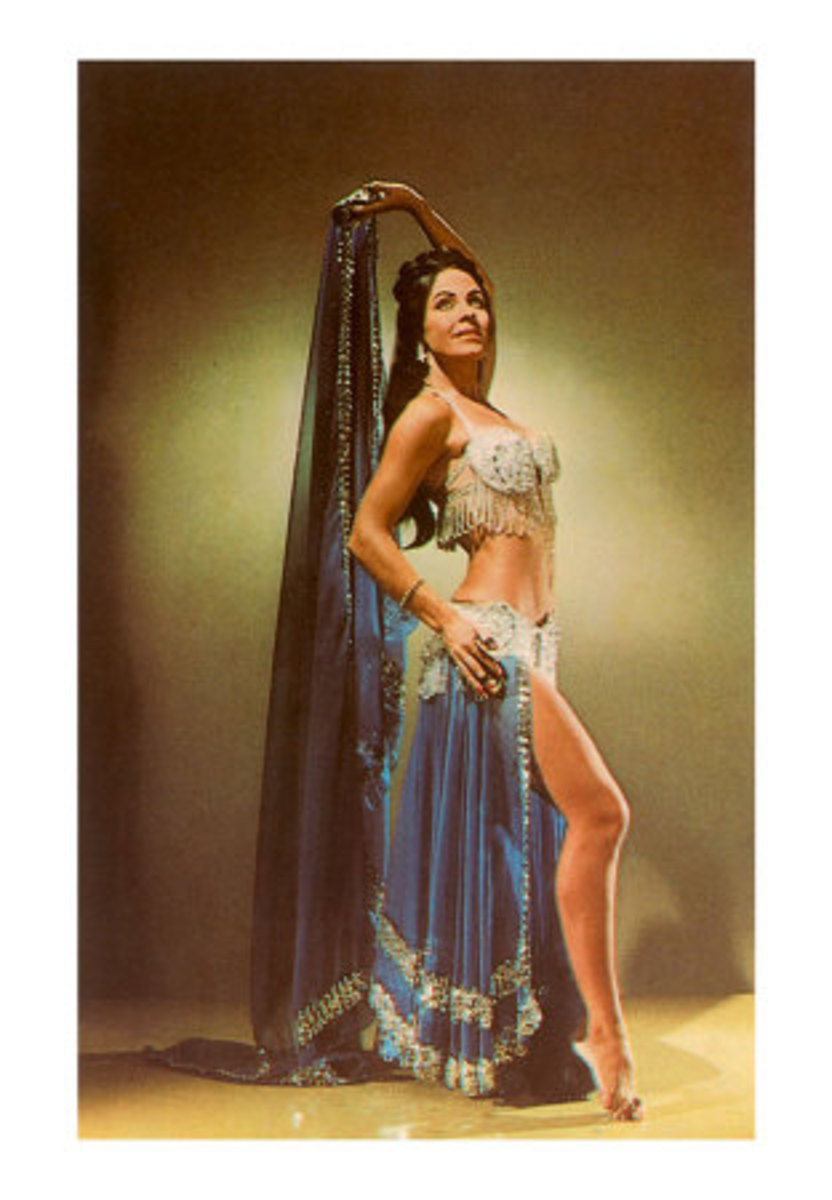A bellydancer in a traditional costume.