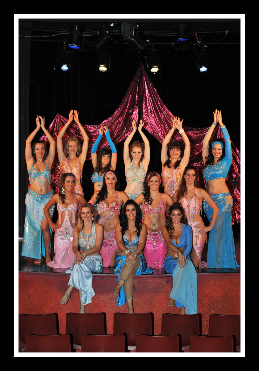 A variety of belly dance costumes.
