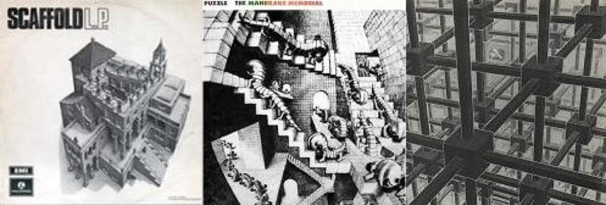 Three other albums have used Escher's art. From left: Scaffold's L.P. (1969), The Mandrake Memorial's Puzzle (1970) and the compilation Endless Journey: Phase Two (1983) which perhaps made the best use of the artwork with no writing on the cover.