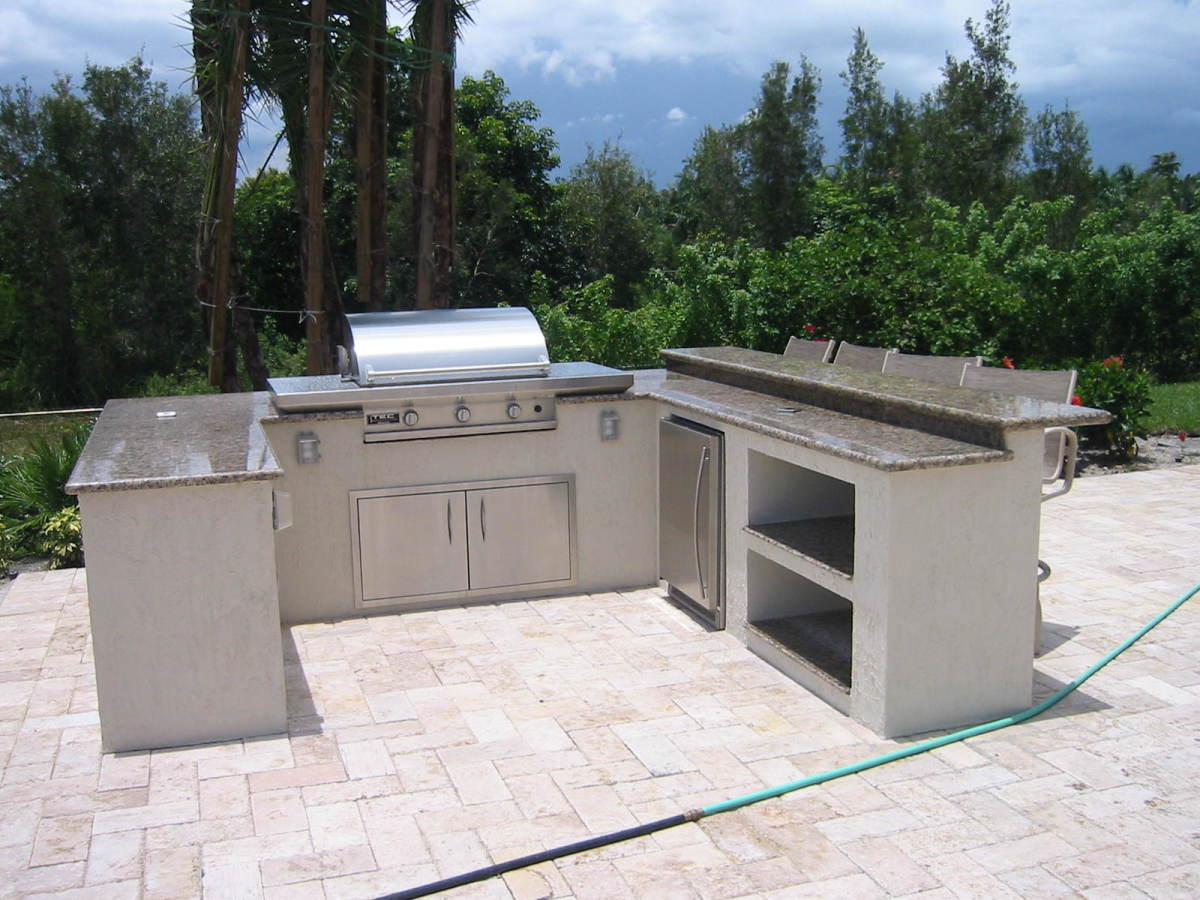 TEC gas grill in a custom outdoor summer kitchen.