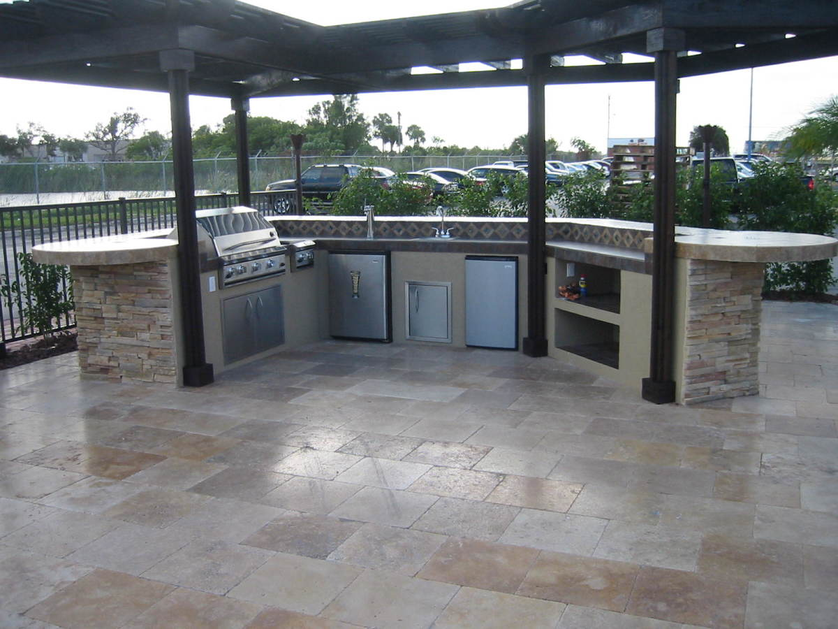 Display island we built for a state-wide pool supplies distribution company in Florida.  Custom outdoor kitchen with ProFire built in barbeque grill.