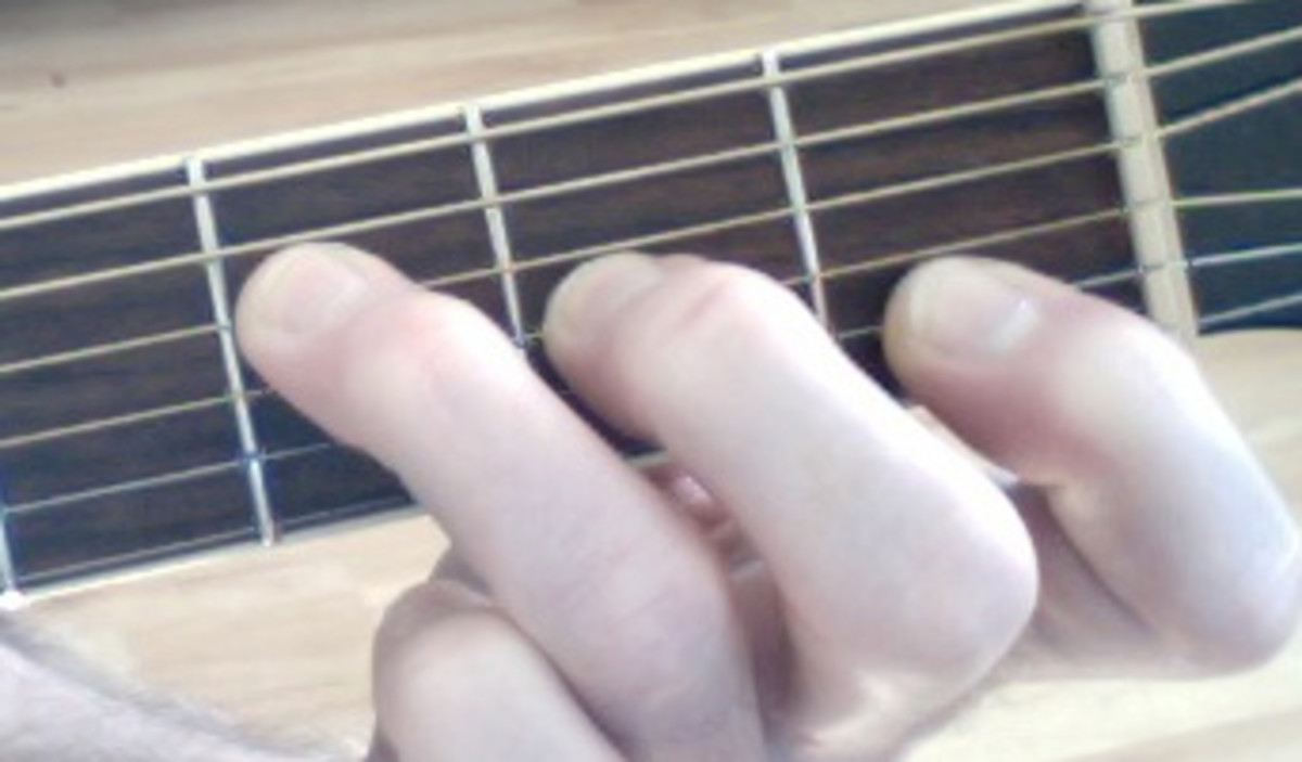 This is another way to get the F Major sound. Lay your first finger across the high E (first string), but do not push down. The string is being muted, you should hear a non-pitched sound, more of a scraping sound on the note