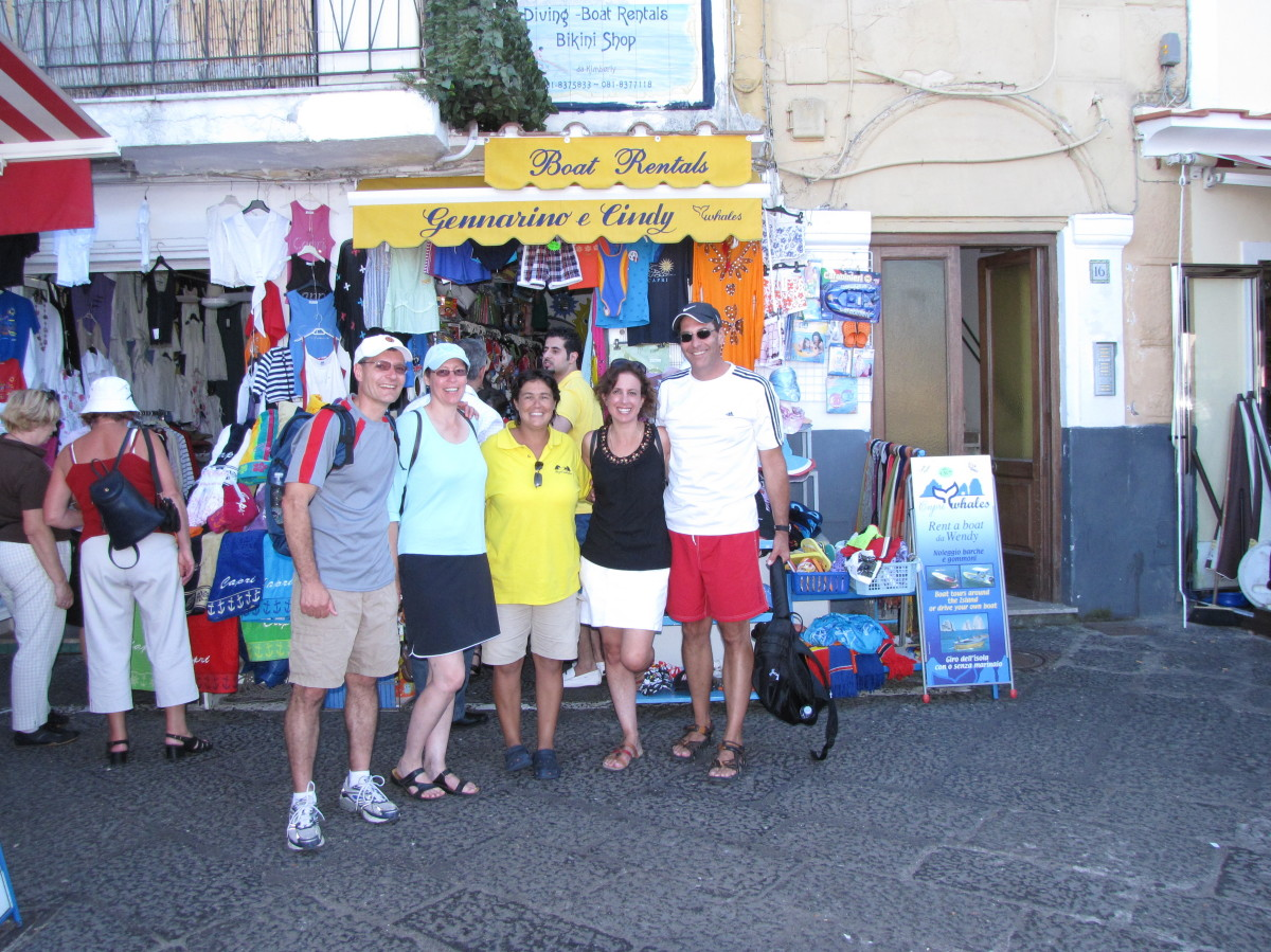 Wendy (c) and our gang in front of Capri Whales