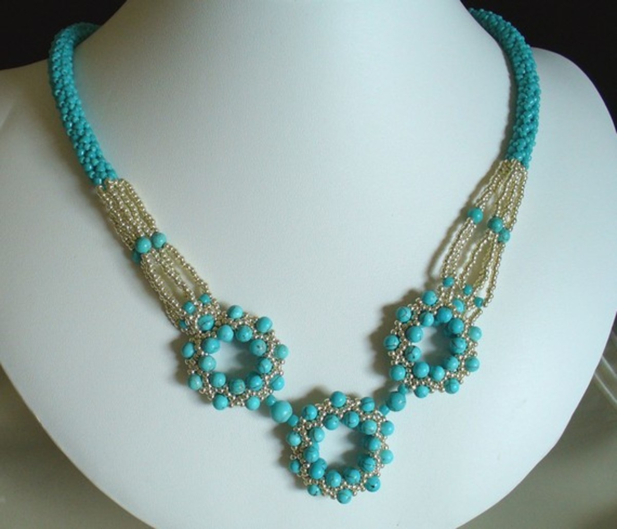 Turquoise and Silver Circles Necklace 1404