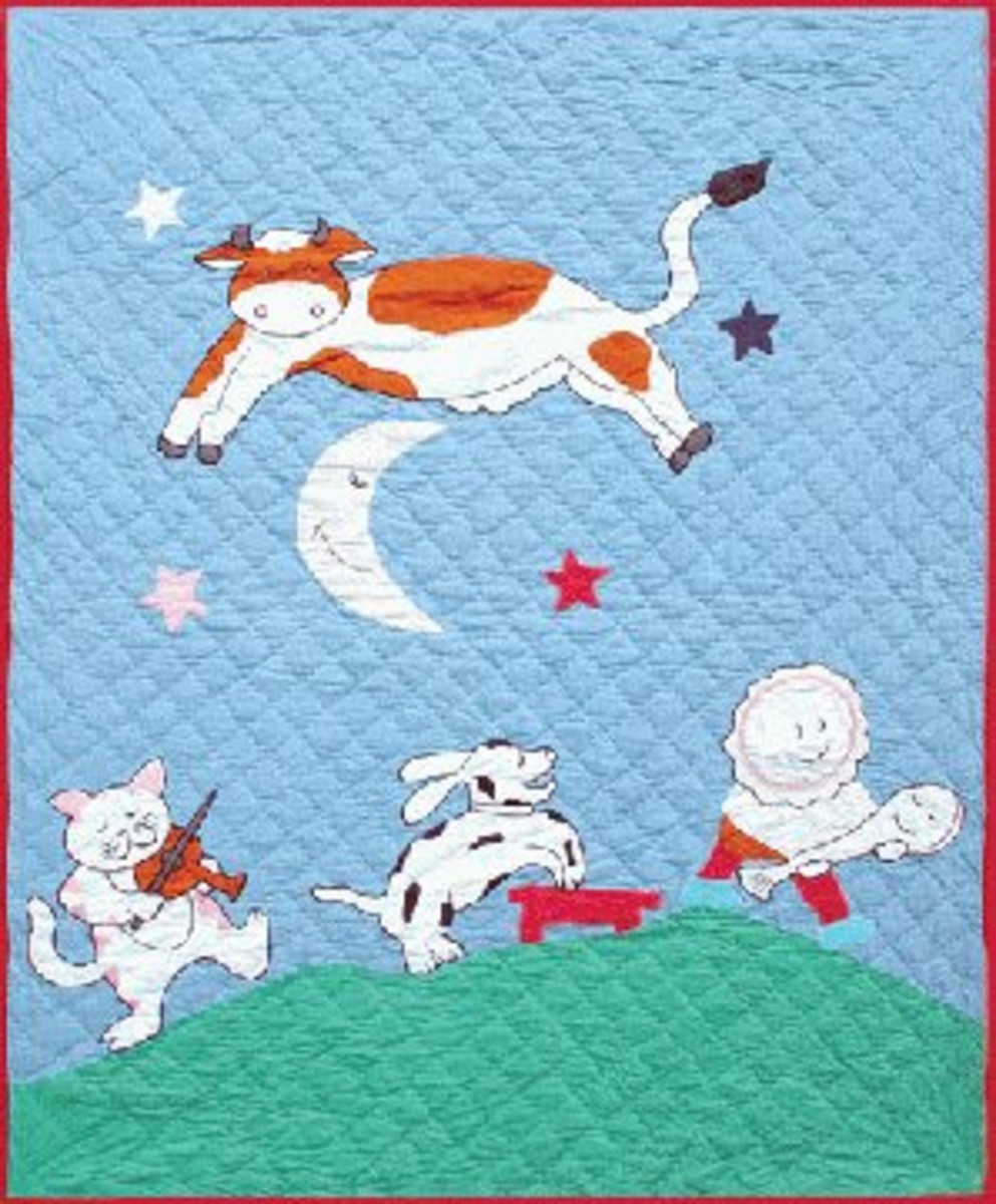 A whimsical bright handmade quilt is perfect as a gift for baby.