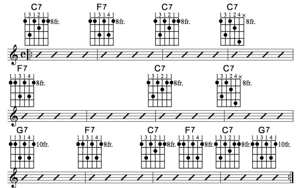 Guitar 12 51 guitar chords : Blues Guitar Chord Progressions • The Three Chord Progression ...