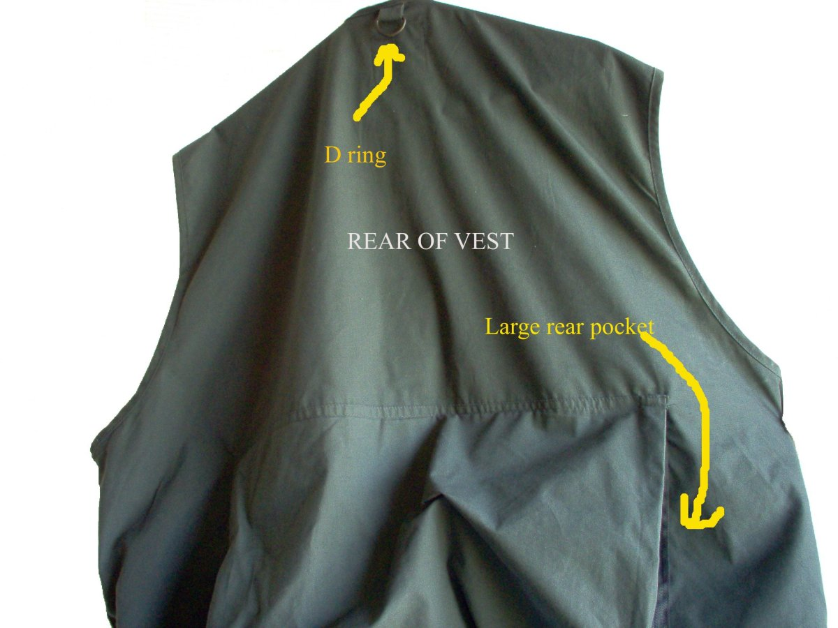 Items that can be folded and flatten such as an emergency blanket and plastic rain poncho should go in the rear pocket of your survival vest