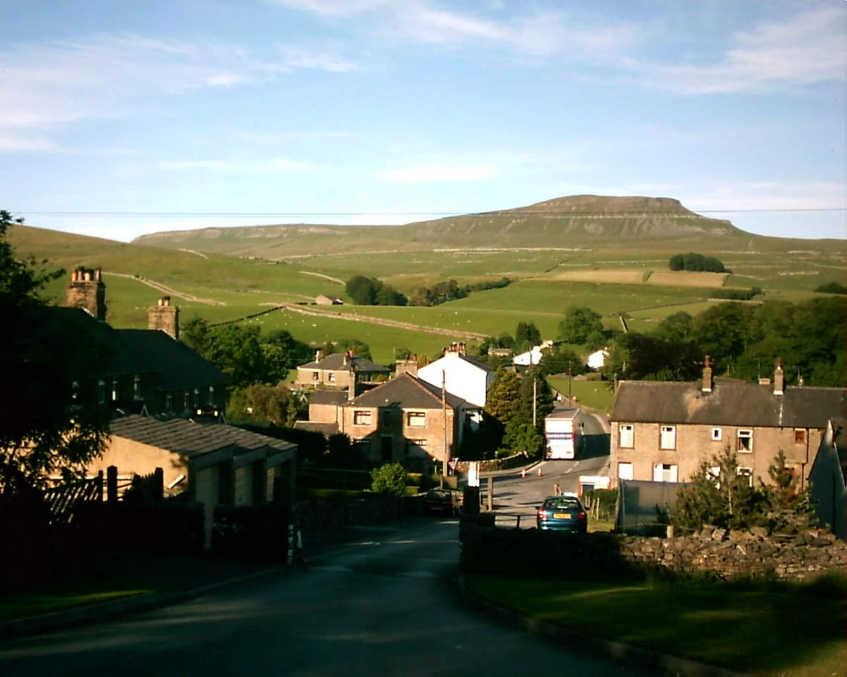 Horton-in-Ribblesdale looking east to Pen-Y-Gent, Yorkshire's third highest mountain in the southern angle of the Great Whernside-Ingleborough-Pen-Y-Gent triangle