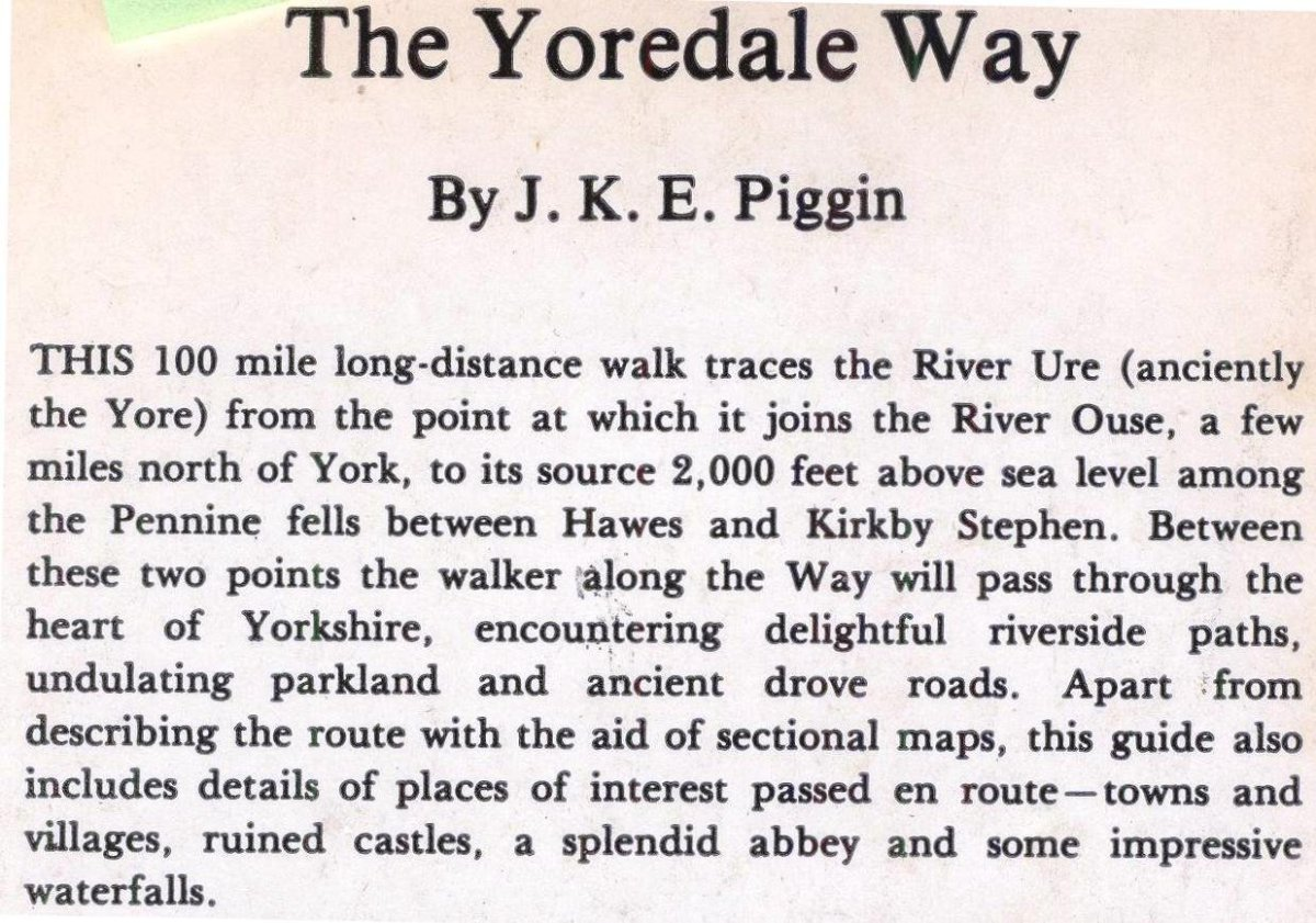 The Yoredale Way, a guide by J K E Piggin available through Amazon